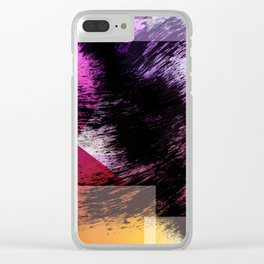 Heavy Black Brushstrokes over Magenta and Orange Shapes Clear iPhone Case
