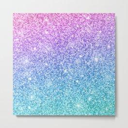 Pink Ombre Glitter Metal Print