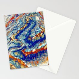 Fire and Ice 1 - Acrylic Flow Abstract Stationery Cards