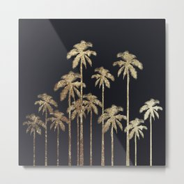 Glamorous Gold Tropical Palm Trees on Black Metal Print