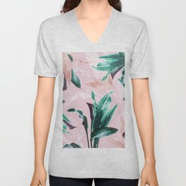 Tropical Floral on Pink. Odessa Calla Lily Unisex V-Neck
