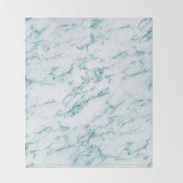 Ribbons of Aqua and White Marble Throw Blanket