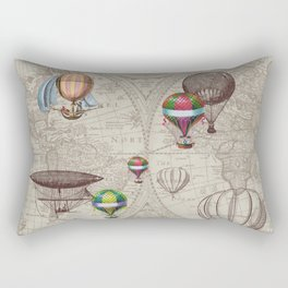 Balloon Festival Brown Rectangular Pillow