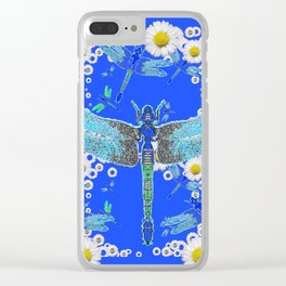 BLUE DRAGONFLIES WHITE DAISY FLOWERS  ART Clear iPhone Case