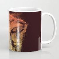 fierce Mugs featuring FIERCE LION by dzeri29