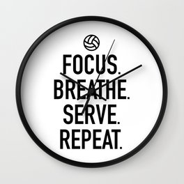 Volleyball - Focus Breathe Serve Repeat Wall Clock