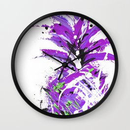 Violet Vacation pineapple Wall Clock