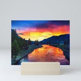 Sunset at Yellowstone Mini Art Print