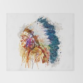 Native American Chief Throw Blanket