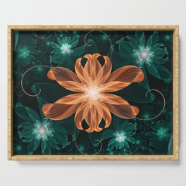 Alluring Turquoise and Orange Tiger Lily Flower Serving Tray