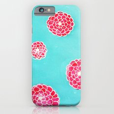 Pink flowers in blue iPhone 6s Slim Case