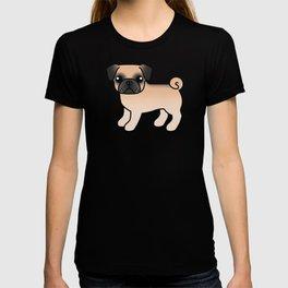 Fawn Pug Dog Cute Cartoon Illustration T-shirt