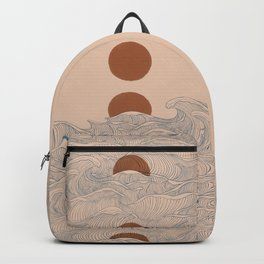 Vintage abstract landscape the great wave ocean sunset moon Backpack