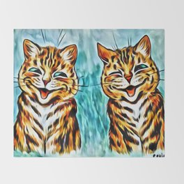 """Louis Wain's Cats """"Winking Cats"""" Throw Blanket"""