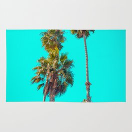 Turquoise Palm Trees, Palm Tree, California, Beach, Ocean, Travel, Paradise, Summer, Summertime Rug