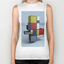 Composition with Red Blue and Yellow Biker Tank