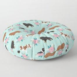 Cavalier King Charles Spaniel florals cute gift for dog lover custom pet portrait pet friendly dog Floor Pillow