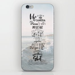 Life is Like a Camera Travel Photography Quote // Beach + Ocean Waves Background iPhone Skin
