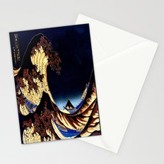The GREAT Wave Midnight Blue Brown Stationery Cards