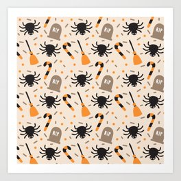 Happy halloween brooms, graves, spiders and sweets pattern Art Print