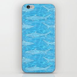 Pattern of sharks and blue water iPhone Skin