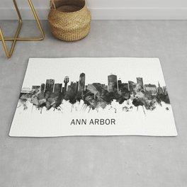 Ann Arbor Michigan Skyline BW Rug