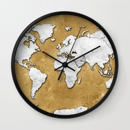 world map marble gold Wall Clock