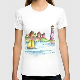 Lighthouse, Beach Decor, Sailboat T-shirt