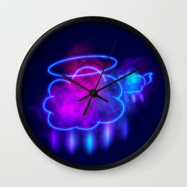 Clouds with Halo and Wings Wall Clock