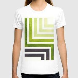 Sap Green Minimalist Inca Geometric Mid Century Modern Watercolor Pattern Maze T-shirt