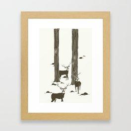 bucks in the snow Framed Art Print