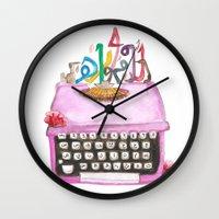 typewriter Wall Clocks featuring typeWriter  by Watercolor_2011