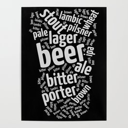 Beer Glass Word Poster