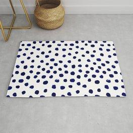 Mini dots painterly brushstrokes boho modern indigo blue and white preppy nautical dorm college art Rug