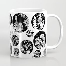 Flowers pattern ink art black and white Coffee Mug