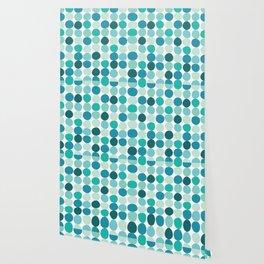 Midcentury Modern Dots Blue Wallpaper