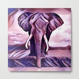 Elephant Drinking Water Metal Print