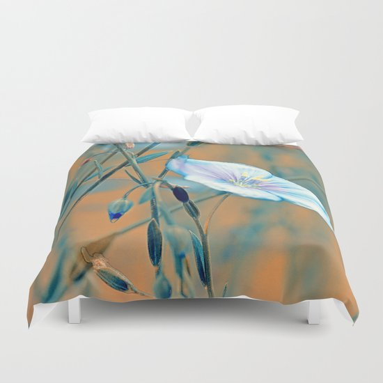 Flax(turquoise). Duvet Cover