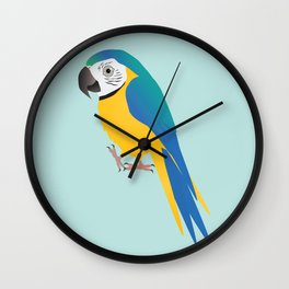 Funny blue and yellow macaw Wall Clock