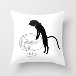 "Théophile Steinlen ""Cats: Pictures without Words (Cat and fishbowl)"" (1) Throw Pillow"