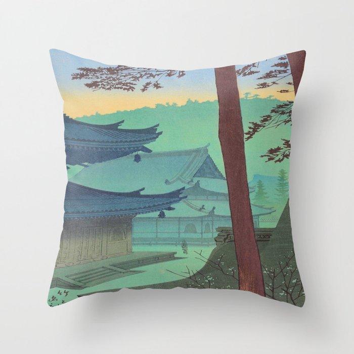 Asano Takeji Japanese Woodblock Print Vintage Mid Century Art Teal Turquoise Sunrise Shrine Throw Pillow