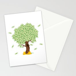 Tree of Money T-shirt Design For those who wants to have luck. Here's a tree of dollars. A must have Stationery Cards