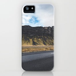A Mountain on the Left. Iceland Landscape. Roadtrip Travel. Photography. iPhone Case