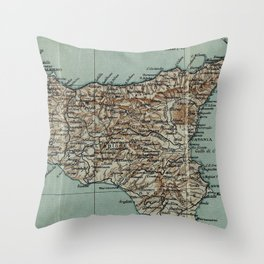 Vintage Map of Sicily Italy (1911) Throw Pillow