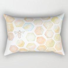 Bee and honeycomb watercolor Rectangular Pillow