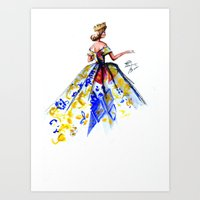 Queen Ball Gown Haute Couture Fashion Illustration Art Print