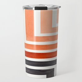 Burnt Sienna Mid Century Modern Watercolor Colorful Ancient Aztec Art Pattern Minimalist Geometric P Travel Mug