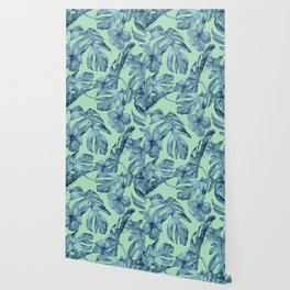Tropical Leaves and Flowers Luxe Ocean Teal Blue Pastel Green Wallpaper