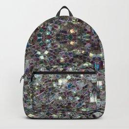 Sparkly colourful silver mosaic mandala Backpack