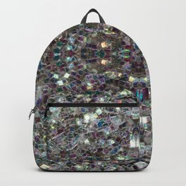 Sparkly colourful silver mosaic mandala Backpack